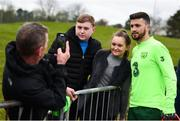 18 March 2019; Shane Long meets supporters following a Republic of Ireland training session at the FAI National Training Centre in Abbotstown, Dublin. Photo by Stephen McCarthy/Sportsfile