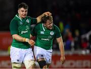 15 March 2019; Ireland's John Hodnett, left, and Liam Turner celebrate after the U20 Six Nations Rugby Championship match between Wales and Ireland at Zip World Stadium in Colwyn Bay, Wales. Photo by Piaras Ó Mídheach/Sportsfile