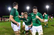 15 March 2019; Ireland's Liam Turner, centre, and John Hodnett during the celebrations after the U20 Six Nations Rugby Championship match between Wales and Ireland at Zip World Stadium in Colwyn Bay, Wales. Photo by Piaras Ó Mídheach/Sportsfile