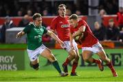 15 March 2019; Sam Costelow of Wales in action against Liam Turner of Ireland during the U20 Six Nations Rugby Championship match between Wales and Ireland at Zip World Stadium in Colwyn Bay, Wales. Photo by Piaras Ó Mídheach/Sportsfile