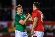 15 March 2019; Liam Turner of Ireland shakes hands with Cai Evans of Wales after the U20 Six Nations Rugby Championship match between Wales and Ireland at Zip World Stadium in Colwyn Bay, Wales. Photo by Piaras Ó Mídheach/Sportsfile