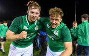 15 March 2019; Ireland's Martin Moloney, left, and Liam Turner celebrate after the U20 Six Nations Rugby Championship match between Wales and Ireland at Zip World Stadium in Colwyn Bay, Wales. Photo by Piaras Ó Mídheach/Sportsfile