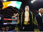 17 March 2019; Michael Conlan ahead of his featherweight bout against Ruben Garcia Hernandez as WWE star Finn Balor, left, waves the Irish tricolour at the Madison Square Garden Theater in New York, USA. Photo by Mikey Williams/Top Rank/Sportsfile