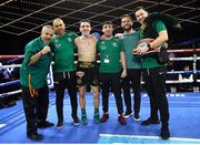 17 March 2019; Michael Conlan with his team, including WWE star Finn Balor, second from right, after defeating Ruben Garcia Hernandez in their featherweight bout at the Madison Square Garden Theater in New York, USA. Photo by Mikey Williams/Top Rank/Sportsfile