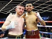 17 March 2019; Paddy Barnes, left, and Oscar Mojica following their bantamweight bout at the Madison Square Garden Theater in New York, USA. Photo by Mikey Williams/Top Rank/Sportsfile