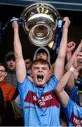 19 March 2019; Brandon Horan of St Michael's Enniskillen holds aloft the MacRory Cup after the Danske Bank MacRory Cup Final match between St Michael's Enniskillen and Omagh CBS at the Athletic Grounds in Armagh. Photo by Oliver McVeigh/Sportsfile