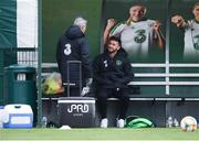 19 March 2019; Shane Long talks with team doctor Alan Byrne during a Republic of Ireland training session at the FAI National Training Centre in Abbotstown, Dublin. Photo by Stephen McCarthy/Sportsfile