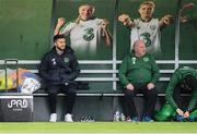 19 March 2019; Shane Long watches on from the bench alongside equipment officer Dick Redmond during a Republic of Ireland training session at the FAI National Training Centre in Abbotstown, Dublin. Photo by Stephen McCarthy/Sportsfile