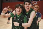19 March 2019; Team Ireland's Faye Boyd, a member of the Antrim Borough SOC, from Antrim Town, and Team Ireland's Sara Shivas, a member of Antrim Borough SOC, from Antrim Town, Co. Antrim, celebrate after their 27-15 win to capture the Gold Medal for Basketball on Day Five of the 2019 Special Olympics World Games in the Abu Dhabi National Exhibition Centre, Abu Dhabi, United Arab Emirates. Photo by Ray McManus/Sportsfile