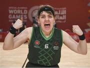 19 March 2019; Team Ireland's Sarah Kilmartin, a member of Athlone SOC, from Athlone, Co. Westmeath, celebrates after Team Ireland's 27-15 win over SO Bharat to capture the Gold Medal for Basketball on Day Five of the 2019 Special Olympics World Games in the Abu Dhabi National Exhibition Centre, Abu Dhabi, United Arab Emirates.  Photo by Ray McManus/Sportsfile