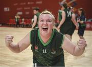 19 March 2019; Team Ireland's Siobhan Dunne, a member of Strabane SOC, from Strabane, Co. Tyrone, celebrates after Team Ireland's 27-15 win over SO Bharat to capture the Gold Medal for Basketball on Day Five of the 2019 Special Olympics World Games in the Abu Dhabi National Exhibition Centre, Abu Dhabi, United Arab Emirates. Photo by Ray McManus/Sportsfile