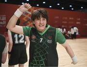 19 March 2019; Team Ireland's Faye Boyd, a member of the Antrim Borough SOC, from Antrim Town, celebrates after Team Ireland's 27-15 win over SO Bharat to capture the Gold Medal for Basketball on Day Five of the 2019 Special Olympics World Games in the Abu Dhabi National Exhibition Centre, Abu Dhabi, United Arab Emirates. Photo by Ray McManus/Sportsfile
