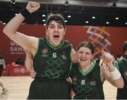 19 March 2019; Team Ireland's Sarah Kilmartin, left, a member of Athlone SOC, from Athlone, Co. Westmeath, and Team Ireland's Amy Watters, a member of the Wizards SOC, from Bangor, Co. Down, celebrate after Team Ireland's 27-15 win over SO Bharat to capture the Gold Medal for Basketball on Day Five of the 2019 Special Olympics World Games in the Abu Dhabi National Exhibition Centre, Abu Dhabi, United Arab Emirates.  Photo by Ray McManus/Sportsfile