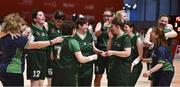 19 March 2019; Team Ireland's players and officials celebrate after their 27-15 over SO Barat to wiin a Gold Medal for Basketball on Day Five of the 2019 Special Olympics World Games in the Abu Dhabi National Exhibition Centre, Abu Dhabi, United Arab Emirates.  Photo by Ray McManus/Sportsfile