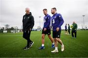 19 March 2019; Republic of Ireland manager Mick McCarthy with James Collins and Alan Judge, right, following a training session at the FAI National Training Centre in Abbotstown, Dublin. Photo by Stephen McCarthy/Sportsfile