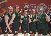 19 March 2019; Team Ireland's players, left to right, Siobhan Dunne, Grace Hamilton, Shauna Stewart, Emma Johnstone and Sarah Thorne celebrate after their 27-15 win over SO Barat to capture a Gold Medal for Basketball on Day Five of the 2019 Special Olympics World Games in the Abu Dhabi National Exhibition Centre, Abu Dhabi, United Arab Emirates. Photo by Ray McManus/Sportsfile