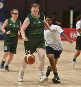 19 March 2019; Team Ireland's Grace Hamilton, a member of the Antrim Borough SOC, from Antrim Town, Co. Antrim, in action against Vijaylakshmi Murugan of SO Bharat during Ireland's 27-15 win to earn a Gold Medal for Basketball on Day Five of the 2019 Special Olympics World Games in the Abu Dhabi National Exhibition Centre, Abu Dhabi, United Arab Emirates. Photo by Ray McManus/Sportsfile