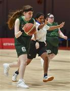 19 March 2019; Team Ireland's Sarah Kilmartin, a member of Athlone SOC, from Athlone, Co. Westmeath, in action against Ankitha A of SO Bharat during Ireland's 27-15 win to earn a Gold Medal for Basketball on Day Five of the 2019 Special Olympics World Games in the Abu Dhabi National Exhibition Centre, Abu Dhabi, United Arab Emirates. Photo by Ray McManus/Sportsfile