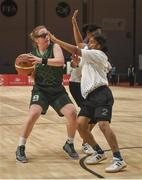 19 March 2019; Team Ireland's Emma Johnstone, a member of the Cabra Lions Special Olympics Club, from Dublin 11, Co. Dublin, in action against Rincy Biju of SO Bharat during Ireland's 27-15 win to earn a Gold Medal for Basketball  on Day Five of the 2019 Special Olympics World Games in the Abu Dhabi National Exhibition Centre, Abu Dhabi, United Arab Emirates. Photo by Ray McManus/Sportsfile