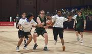 19 March 2019; Team Ireland's Emma Johnstone, a member of the Cabra Lions Special Olympics Club, from Dublin 11, Co. Dublin, in action against Rincy Biju and Athira Soman, right, of SO Bharat during Ireland's 27-15 win to earn a Gold Medal for Basketball on Day Five of the 2019 Special Olympics World Games in the Abu Dhabi National Exhibition Centre, Abu Dhabi, United Arab Emirates. Photo by Ray McManus/Sportsfile