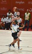 19 March 2019; Team Ireland's Emma Johnstone, a member of the Cabra Lions Special Olympics Club, from Dublin 11, Co. Dublin, in action against Ankitha A of SO Bharat during Ireland's 27-15 win to earn a Gold Medal for Basketball on Day Five of the 2019 Special Olympics World Games in the Abu Dhabi National Exhibition Centre, Abu Dhabi, United Arab Emirates. Photo by Ray McManus/Sportsfile
