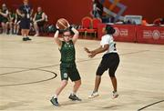 19 March 2019; Team Ireland's Emma Johnstone, a member of the Cabra Lions Special Olympics Club, from Dublin 11, Co. Dublin, in action against Athira Soman of SO Bharat during Ireland's 27-15 win to earn a Gold Medal for Basketball on Day Five of the 2019 Special Olympics World Games in the Abu Dhabi National Exhibition Centre, Abu Dhabi, United Arab Emirates. Photo by Ray McManus/Sportsfile