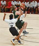 19 March 2019; Team Ireland's Emma Johnstone, a member of the Cabra Lions Special Olympics Club, from Dublin 11, Co. Dublin, in action against Athira Soman and Gauri pinki A of SO Bharat during Ireland's 27-15 win to earn a Gold Medal for Basketball on Day Five of the 2019 Special Olympics World Games in the Abu Dhabi National Exhibition Centre, Abu Dhabi, United Arab Emirates. Photo by Ray McManus/Sportsfile