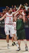 19 March 2019; Team Ireland's Keith Murphy, a member of the Palmerstown Wildcats Special Olympics Club, from Ballybritas, Co. Laois, in action against Terry Stebler of SO Switzerland during the Male / Mixed Playoff Round 1 Basketball game on Day Five of the 2019 Special Olympics World Games in the Abu Dhabi National Exhibition Centre, Abu Dhabi, United Arab Emirates.  Photo by Ray McManus/Sportsfile