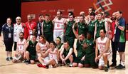 19 March 2019; Team Ireland players and officials, with their Swiss oponents, after Ireland were beaten by SO Switzerland during the Male / Mixed Playoff Round 1 Basketball game on Day Five of the 2019 Special Olympics World Games in the Abu Dhabi National Exhibition Centre, Abu Dhabi, United Arab Emirates. Photo by Ray McManus/Sportsfile