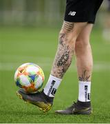 19 March 2019; A detailed view of James McClean's leg during a Republic of Ireland training session at the FAI National Training Centre in Abbotstown, Dublin. Photo by Stephen McCarthy/Sportsfile