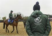 19 March 2019; Keith Donoghue on Tiger Roll at the launch of the 2019 Boylesports Irish Grand National at Gordon Elliott's yard in Longwood, Co. Meath. Photo by Ramsey Cardy/Sportsfile