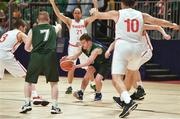 19 March 2019; Team Ireland's Stephen Murphy, a member of the Palmerstown Wildcats Special Olympics Club, from Lucan, Co. Dublin, in action against SO Switzerland during the Male / Mixed Playoff Round 1 Basketball game on Day Five of the 2019 Special Olympics World Games in the Abu Dhabi National Exhibition Centre, Abu Dhabi, United Arab Emirates. Photo by Ray McManus/Sportsfile