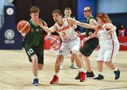 19 March 2019; Team Ireland's Stephen Murphy, a member of the Palmerstown Wildcats Special Olympics Club, from Lucan, Co. Dublin, in action against Emile Terrettaz SO Switzerland during the Male / Mixed Playoff Round 1 Basketball game on Day Five of the 2019 Special Olympics World Games in the Abu Dhabi National Exhibition Centre, Abu Dhabi, United Arab Emirates.  Photo by Ray McManus/Sportsfile