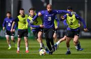 19 March 2019; David McGoldrick is tackled by Harry Arter during a Republic of Ireland training session at the FAI National Training Centre in Abbotstown, Dublin. Photo by Stephen McCarthy/Sportsfile