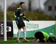 19 March 2019; Darragh Gogan of TU Dublin Tallaght reacts to saving a penalty from Mikey Scott of TU Dublin Blanchardstown, right, during the RUSTLERS Third Level CUFL Men's Division One Final match between Technological University Blanchardstown and Technological University Tallaght at Athlone Town Stadium in Athlone, Co. Westmeath. Photo by Harry Murphy/Sportsfile