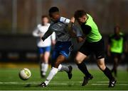 19 March 2019; Yoma Ogaga of TU Dublin Tallaght in action against Eoghan Morgan of TU Dublin Blanchardstown during the RUSTLERS Third Level CUFL Men's Division One Final match between Technological University Blanchardstown and Technological University Tallaght at Athlone Town Stadium in Athlone, Co. Westmeath. Photo by Harry Murphy/Sportsfile