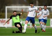 19 March 2019; Luka Lovic of TU Dublin Tallaght is tackled by Eoghan Morgan of TU Dublin Blanchardstown  during the RUSTLERS Third Level CUFL Men's Division One Final match between Technological University Blanchardstown and Technological University Tallaght at Athlone Town Stadium in Athlone, Co. Westmeath. Photo by Harry Murphy/Sportsfile