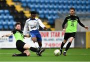 19 March 2019; Yoma Ogaga of TU Dublin Tallaght is tackled by Eoghan Morgan of TU Dublin Blanchardstown during the RUSTLERS Third Level CUFL Men's Division One Final match between Technological University Blanchardstown and Technological University Tallaght at Athlone Town Stadium in Athlone, Co. Westmeath. Photo by Harry Murphy/Sportsfile