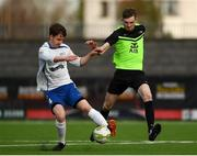 19 March 2019; Aaron Brazil of TU Dublin Blanchardstown in action against Adam Towers of TU Dublin Tallaght during the RUSTLERS Third Level CUFL Men's Division One Final match between Technological University Blanchardstown and Technological University Tallaght at Athlone Town Stadium in Athlone, Co. Westmeath. Photo by Harry Murphy/Sportsfile
