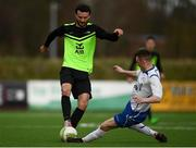 19 March 2019; Mikey Scott of TU Dublin Blanchardstown in action against Dan Ridge of TU Dublin Tallaght during the RUSTLERS Third Level CUFL Men's Division One Final match between Technological University Blanchardstown and Technological University Tallaght at Athlone Town Stadium in Athlone, Co. Westmeath. Photo by Harry Murphy/Sportsfile
