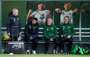 19 March 2019; Shane Long with, from left, Dr Alan Byrne, Republic of Ireland team doctor, Mick Lawlor, equipment officer, and physiotherapist Tony McCarthy during a Republic of Ireland training session at the FAI National Training Centre in Abbotstown, Dublin. Photo by Stephen McCarthy/Sportsfile