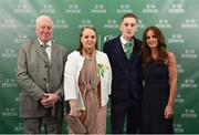 17 March 2019; Ronan Curtis arrives with family members, from left, David, Marie and Lisa Smith, prior to the Three FAI International Awards at RTE Studios in Donnybrook, Dublin. Photo by Seb Daly/Sportsfile