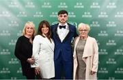 17 March 2019; Men's U16 International Player of the Year Troy Parrott arrives with family prior to the Three FAI International Awards at RTE Studios in Donnybrook, Dublin. Photo by Seb Daly/Sportsfile