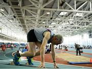 10 March 2019; Peadar McGing of Dundrum South Dublin A.C. prepares to run in the 400m during the Irish Life Health Masters Indoors Championships at AIT in Athlone, Co Westmeath. Photo by Harry Murphy/Sportsfile