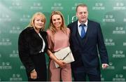 17 March 2019; Lynn Craven of Shelbourne Ladies, centre, and family arrive prior to the Three FAI International Awards at RTE Studios in Donnybrook, Dublin. Photo by Seb Daly/Sportsfile