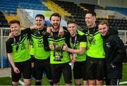 19 March 2019; TU Dublin Blanchardstown players celebrate with the trophy following the RUSTLERS Third Level CUFL Men's Division One Final match between Technological University Blanchardstown and Technological University Tallaght at Athlone Town Stadium in Athlone, Co. Westmeath. Photo by Harry Murphy/Sportsfile