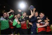 19 March 2019; IT Carlow players including captain Kieran McDaid, centre, celebrate with the trophy following the RUSTLERS Third Level CUFL Men's Premier Division Final Final match between Institute of Technology Carlow and University of Limerick at Athlone Town Stadium in Athlone, Co. Westmeath. Photo by Harry Murphy/Sportsfile
