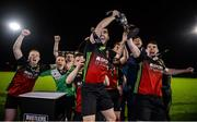 19 March 2019; IT Carlow captain Kieran McDaid lifts the trophy following the RUSTLERS Third Level CUFL Men's Premier Division Final Final match between Institute of Technology Carlow and University of Limerick at Athlone Town Stadium in Athlone, Co. Westmeath. Photo by Harry Murphy/Sportsfile