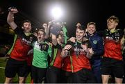 19 March 2019; IT Carlow players celebrate with the trophy following the RUSTLERS Third Level CUFL Men's Premier Division Final Final match between Institute of Technology Carlow and University of Limerick at Athlone Town Stadium in Athlone, Co. Westmeath. Photo by Harry Murphy/Sportsfile