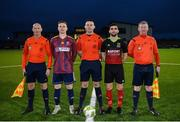 19 March 2019; University of Limerick captain Ian Fletcher and IT Carlow captain Kieran McDaid with referee Declan Toland and assistant referees Paul Malone and Ray Conlon prior to the RUSTLERS Third Level CUFL Men's Premier Division Final Final match between Institute of Technology Carlow and University of Limerick at Athlone Town Stadium in Athlone, Co. Westmeath. Photo by Harry Murphy/Sportsfile